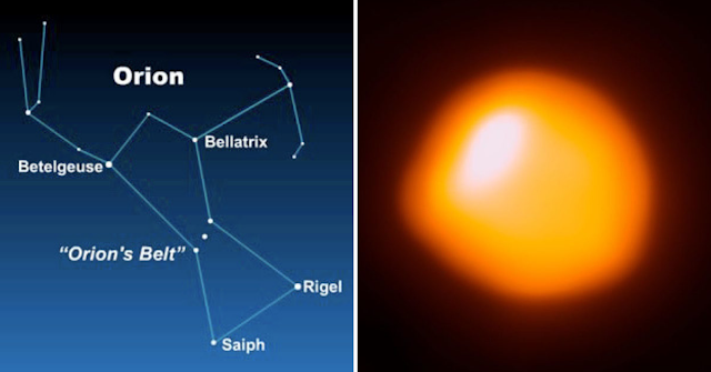 The constellation Orion the Hunter - Illustration Credit: Earth Sky and The Atacama Large Millimeter/submillimeter Array (ALMA) captured this image of Betelgeuse, revealing its lopsided shape and a huge bright spot. ALMA (ESO / NAOJ / NRAO) / E. O'Gorman / P. Kervella
