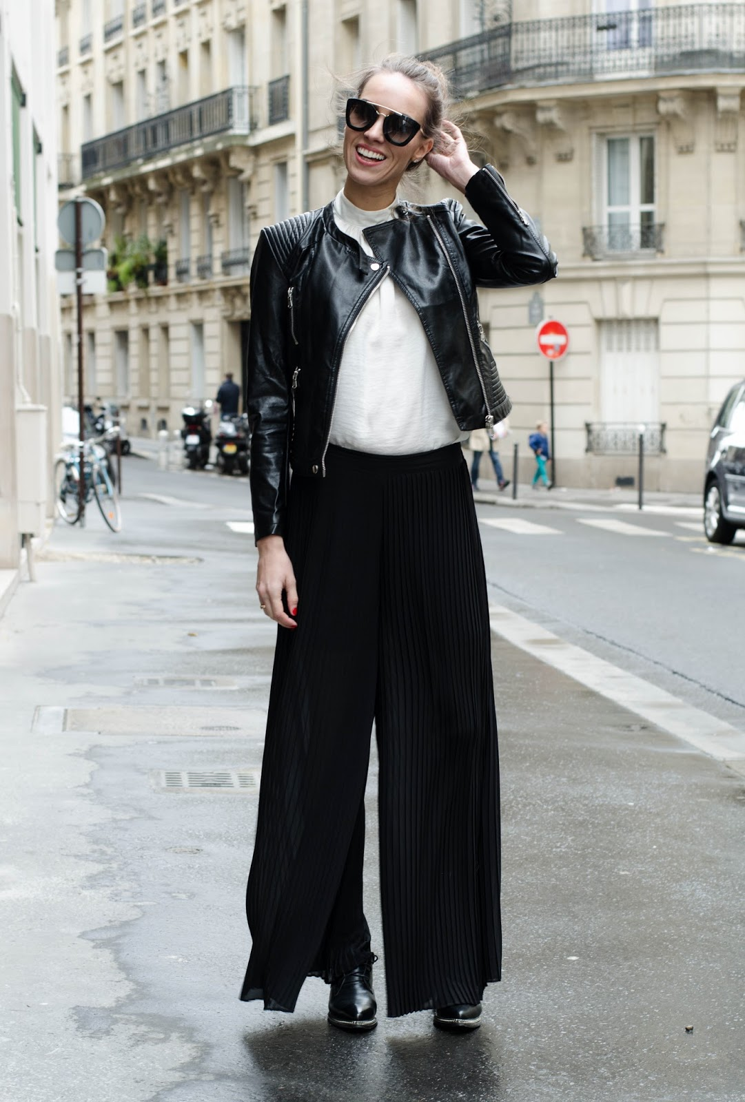 kristjaana mere black pleated pants spring outfit
