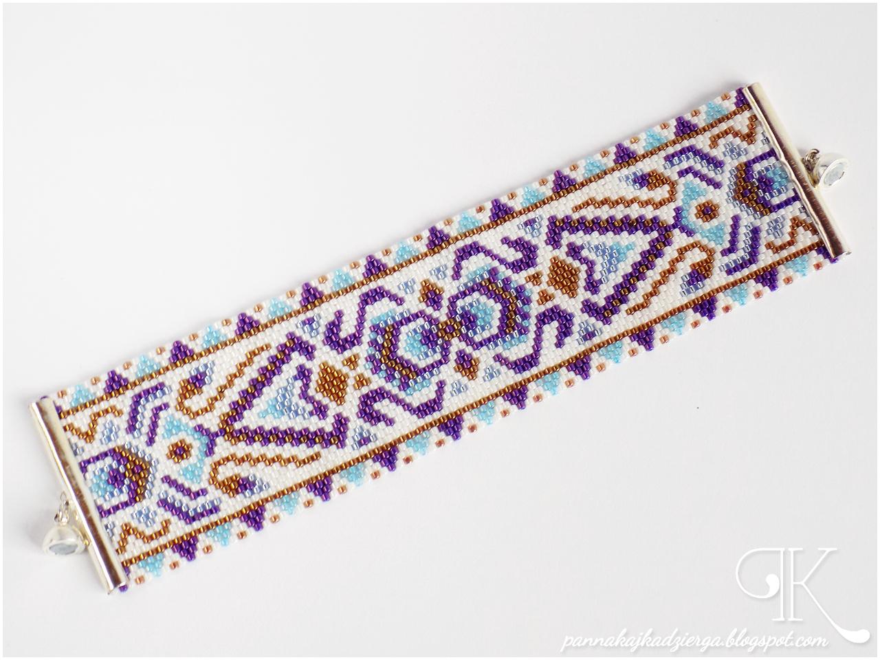 peyote, bransoletka, toho treasure, zapięcie magnetyczne, egipt, kleopatra, bracelet, handmade, rękodzieło, biżuteria