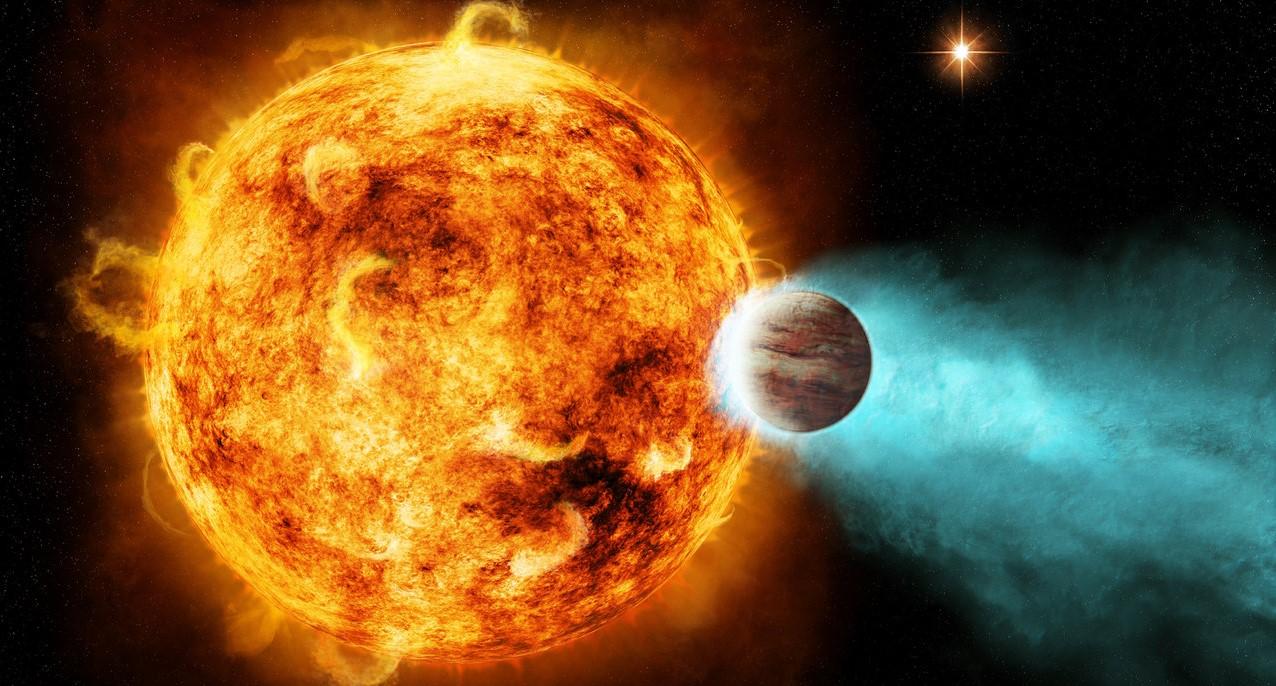 A concepção artística de um Júpiter quente. Esses gigantes gasosos orbitam perto de sua estrela e são comuns em outros sistemas, mas não em nosso próprio Sistema Solar.