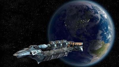 Uma-ilustração-artística-de-uma-nave-futurista-orbitando-a-Terra