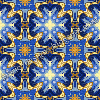 Fabric Geometric Navy Blue and Golden Pattern
