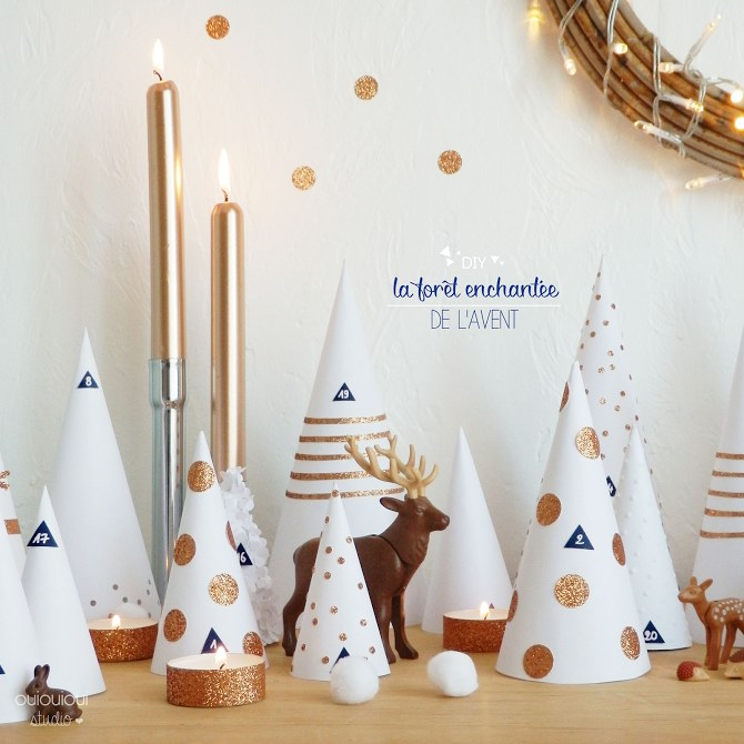 DIY, calendario de adviento bosque de papel