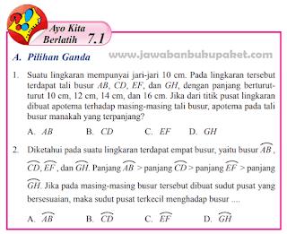 Jawaban MATEMATIKA Kelas 8 Ayo Kita Berlatih 7.1 Halaman 67 68 69 70 71 www.jawabanbukupaket.com