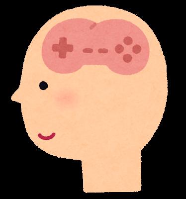 ゲームの形をした脳のイラスト