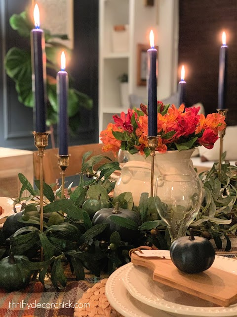 brass candles Thanksgiving tablescape