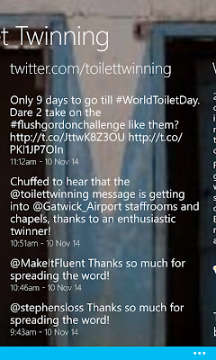 "Screenshot of the ""Toilet Twinning"" app showing items from the twitter feed"