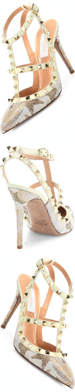 Valentino Camustar Rockstud Leather Slingbacks