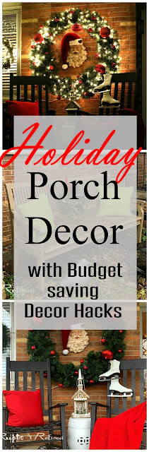 Christmas Porch decor with budget saving hacks on decorating