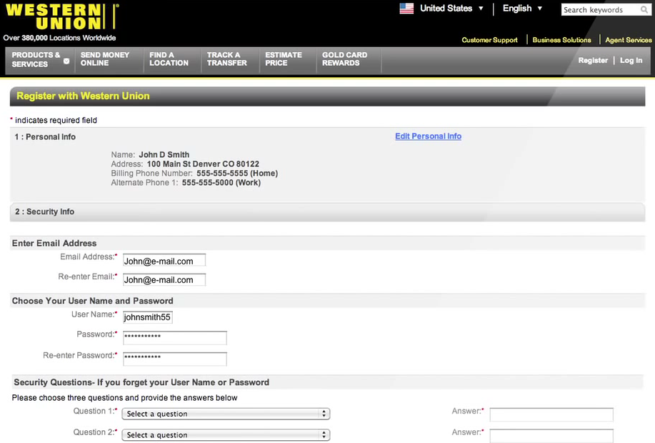 Western Union Money Transfer Screen