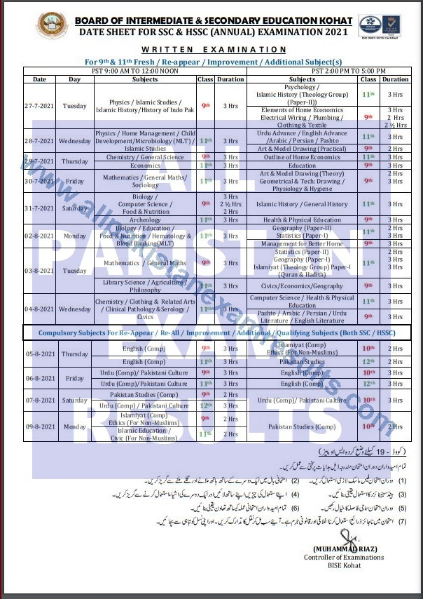 BISE Kohat Date Sheet For SSC and HSSC 2021 Annual Exam part 1