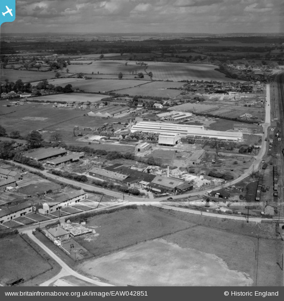 Photograph of The Dottridge Brothers Ltd Coffin Factory at Marshmoor and environs, Welham Green, from the south-east, 1952 This image was marked by Aerofilms Ltd for photo editing Original Britain From Above caption