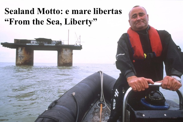 Recent photo of Michael Bates, Prince Regent, motoring away from Sealand. Sealand motto from the sea, liberty.  Pirate Radio and Sealand and Other stories of Rock, Radio, and Regulations. Marchmatron.com