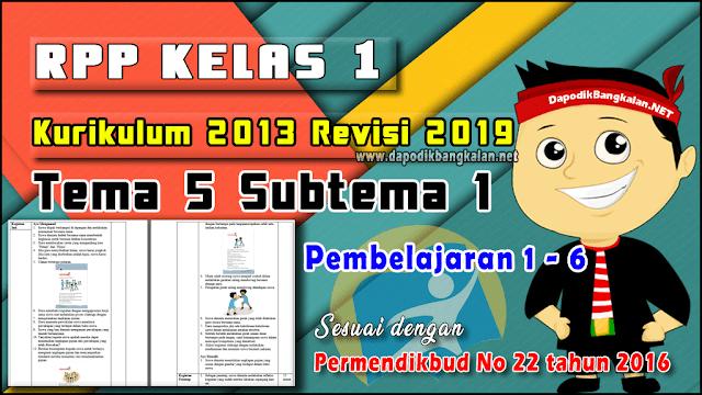 RPP Kelas 1 Tema 5 Subtema 1 Pembelajaran 1 - 6 K13 Revisi 2019