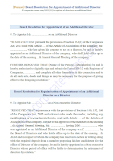 board resolution for appointment of additional director companies act 2013