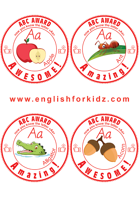 Printable awards for learning English ABC
