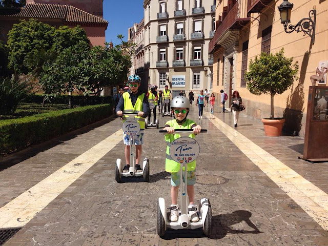 Kids riding a segway in Malaga
