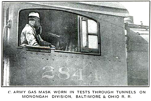 Army gas mask worn in tests through tunnels on Monongah Division, Baltimore & Ohio R. R.