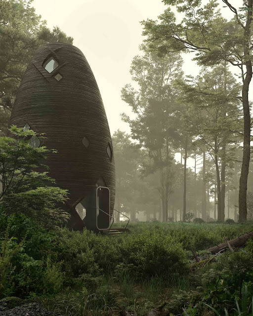 3D-printed Earth habitat TERA in the woods by AI SpaceFactory