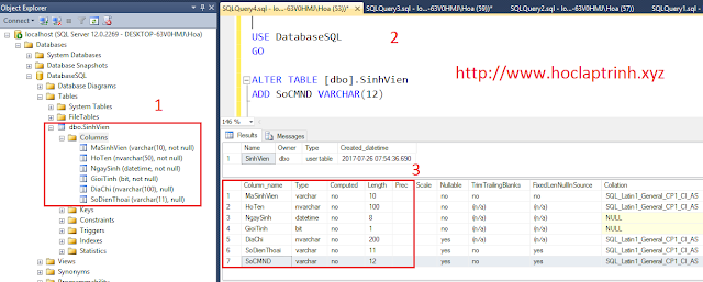 SQL Server: Sửa bảng trong SQL Server (ALTER TABLE)