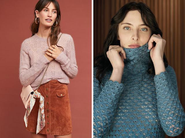 Сиреневый и голубой ажурные свитера с замшевой юбкой