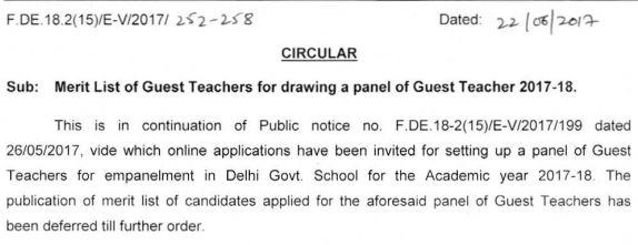 image : Latest News - Delhi Guest Teacher Merit List 2017 Result for 2017-18 @ TeachMatters