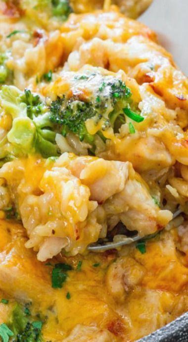 One Pot Cheesy Chicken Broccoli Rice Casserole Recipe