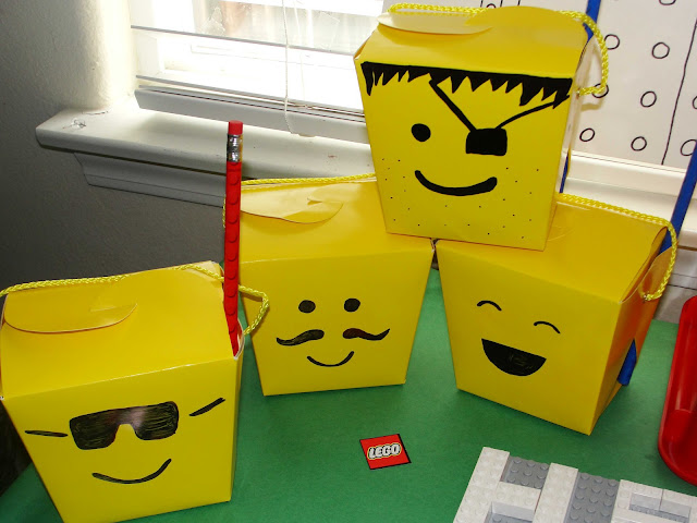 Lego party favor boxes, just picked them up at Michael's and decorated them with a sharpie