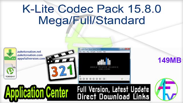 K-Lite Codec Pack 15.8.0 Mega Full Standard