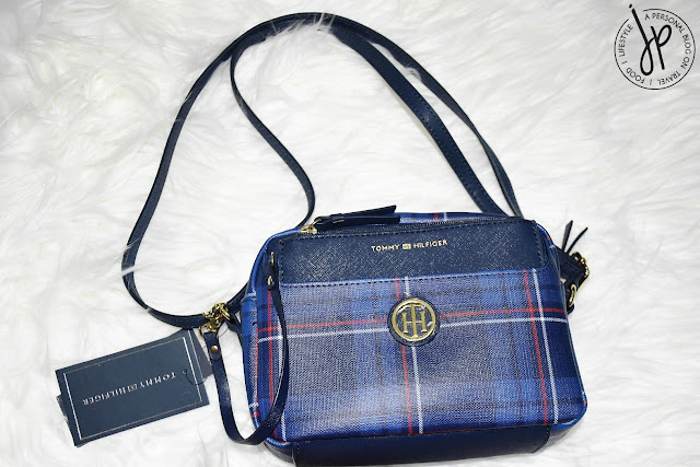 blue plaid crossbody bag