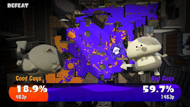 Splatoon 2 Global Testfire results screen defeat good guys bad guys Judd