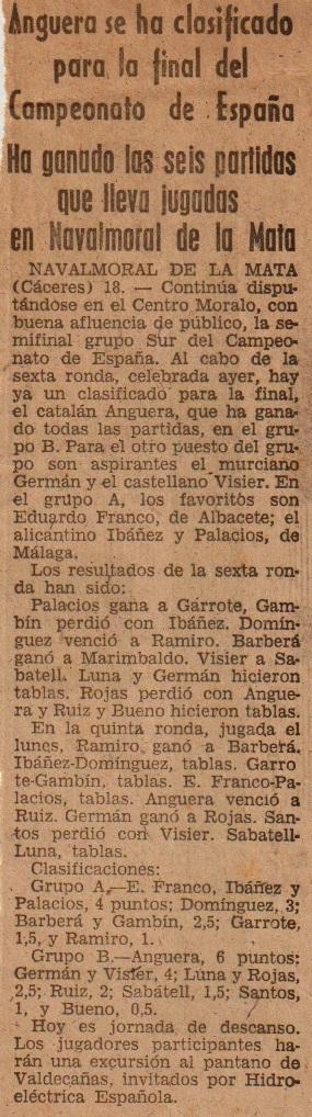 Fase previa en Navalmoral de la Mata del XXVIII Campeonato de España Individual 1963