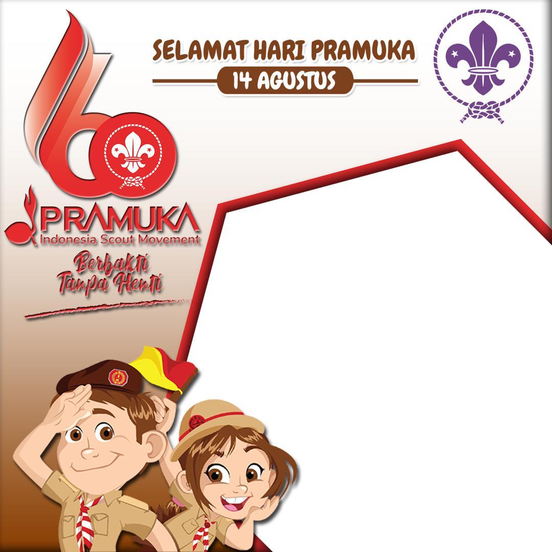 Bakcground Desain Bingkai Twibbon Hari Pramuka Indonesia 14 Agustus 2021