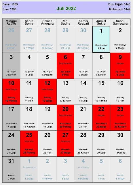 Kalender Jawa Juli 2022 Lengkap Hari Baik & Buruk