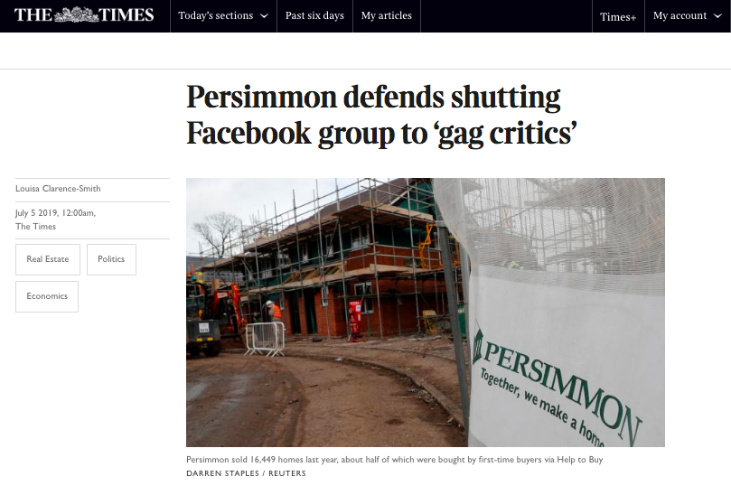 HelpHound Blog: Persimmon Homes closes Facebook group - the