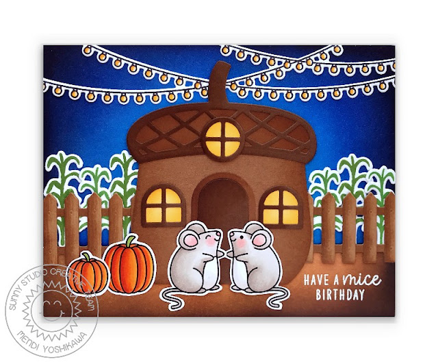 Sunny Studio Mouse with Acorn House Fall Card (using Harvest Mice, Barnyard Buddies & Scenic Route Stamps, Nutty For You, Picket Fence & Gingerbread House Dies)