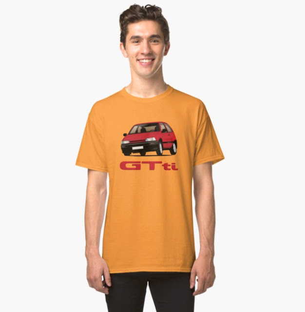 Red Daihatsu Charade GTti with t-shirt