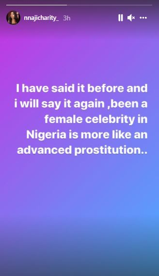 Being a female celebrity in Nigeria is more like advanced prostitution– Actress, Nnaji Charity