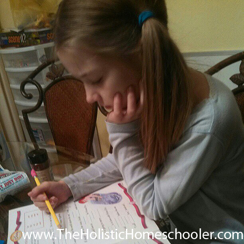 girl doing school work
