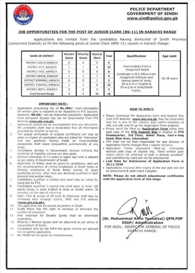 Sindh Police Junior Clerks Jobs 2020 Via PTS Apply Online for Karachi and Sukkur Regions