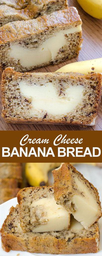 Cream Cheese-Filled Banana Bread #bread #dessert
