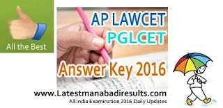 AP LAWCET Key 2016,AP LAWCET & PGLCET Answer Key 2016, Manabadi AP Lawcet Key 2016, Eenadu Sakshi AP LAWCET Answer Key 2016