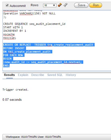 Trigger Created to insert Auto Increment Value in Audit Table