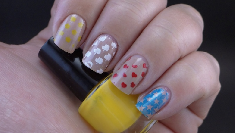stamp polish set Born Pretty Store Yellow Black Blue Red and White sample swatch