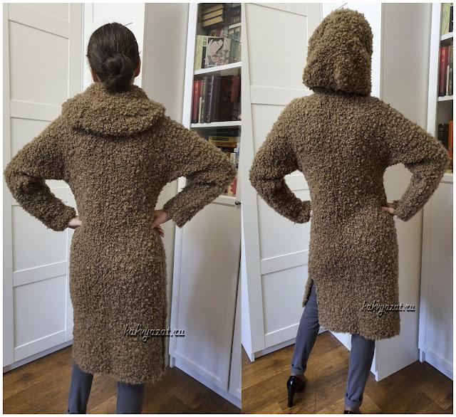 Вязаное пальто с капюшоном (крупный план).