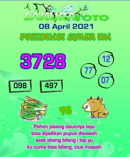 Prediksi Sakuratoto HK Kamis 08 April 2021