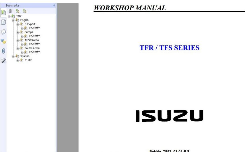 ISUZU TFR,TFS SERIES 1997-2003 WORKSHOP MANUAL