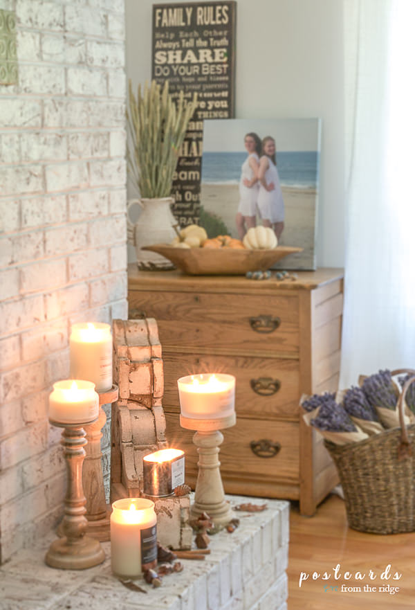 wooden pedestal candle holders with jar candles