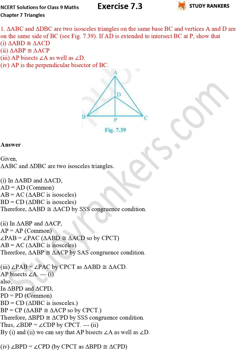 NCERT Solutions for Class 9 Maths Chapter 7 Triangles Exercise 7.3 Part 1