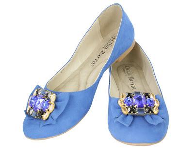 sapatilha azul linda bonita elegante moderna moda fashion retro rasteira caçado feminino sapato mulher laço joia pedra camurça